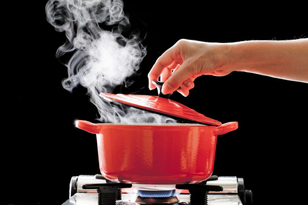 steam coming out of a pot