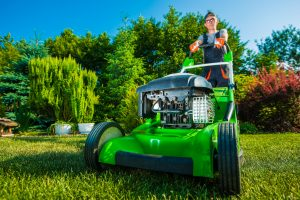 Man ready to take care of the commercial lawn