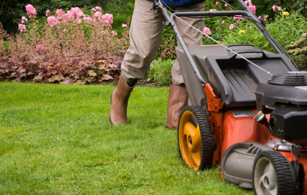 Mowing the commercial lawn