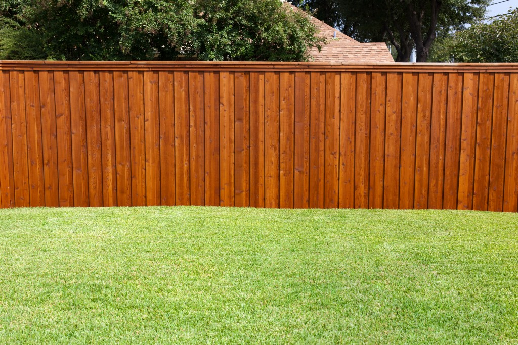 backyard with grass and wood fence