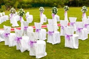 A wide yard designed for an event