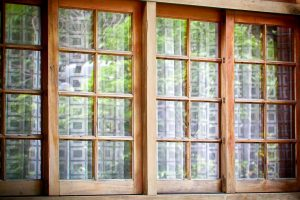 Glass with wood frame sliding door