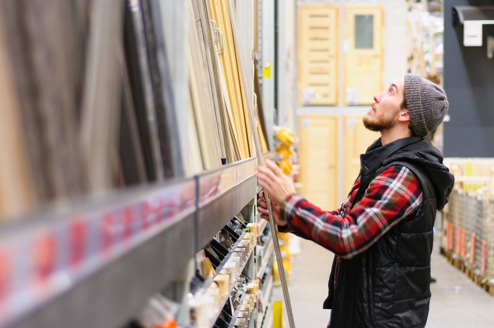 a man at the hardware store