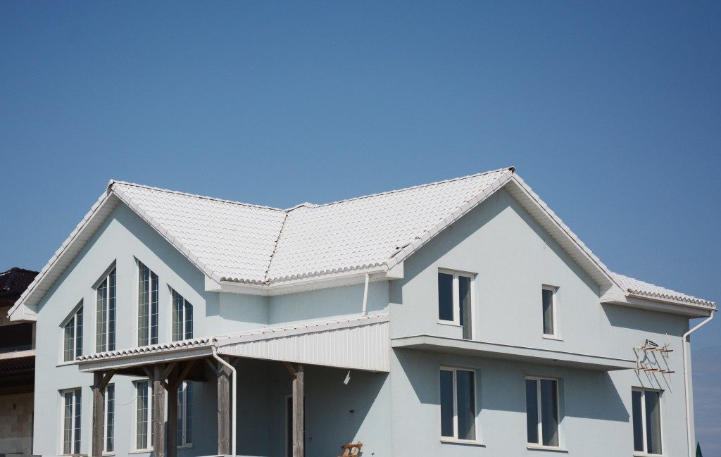 Large house with white roof