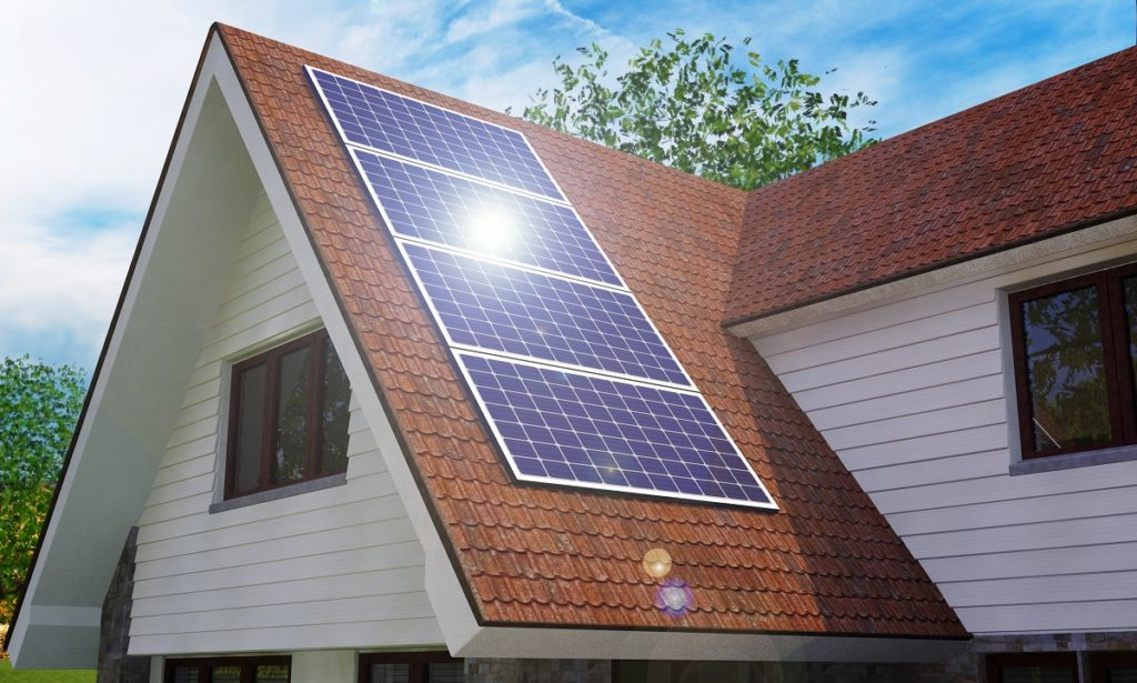 solar panels installed in a home's roof
