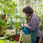 Man watering the plants in his greenhouse