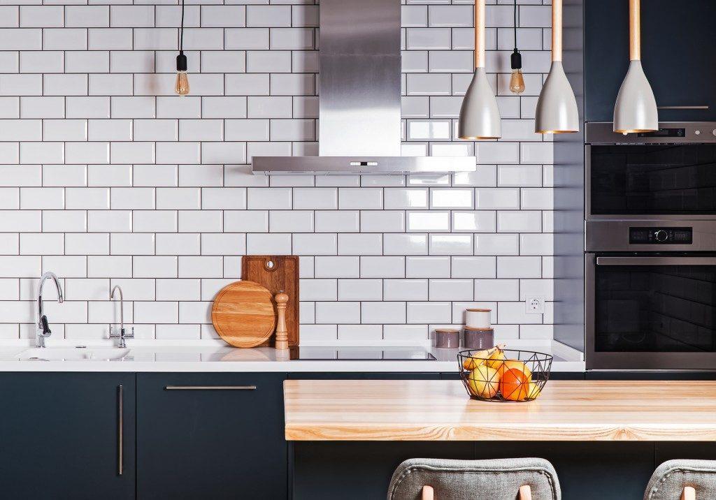 white brick tiles on the kitchen