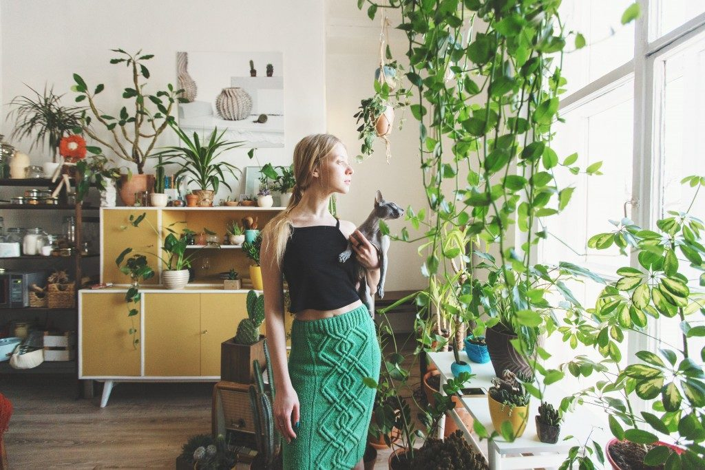 woman and cat inside an apartment filled with indoor plants